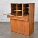 HOLD – Vintage Scandinavian Modern Teak Drop Front Desk Secretary in a Box 1960-2000