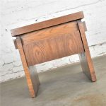 HOLD-Lane Furniture Modern Brutalist Chunky Oak Parquet Side Table or End Table 1977 Style 1448