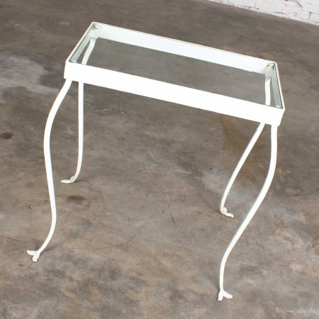 Vintage Hand Wrought Iron Rectangle Glass Top Side Table