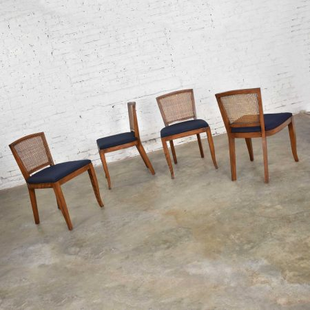 Vintage Mid-Century Modern Set of 4 Cane Back Dining Chairs Newly Upholstered Seats