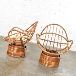 Pair of Vintage Modern Rattan Swivel Mamasan Bucket Lounge Chairs 1970