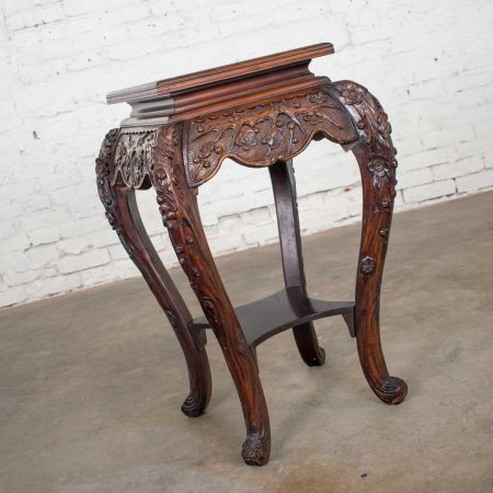 Antique Asian Pedestal Table Rosewood Color Hand Carved Cherry Blossoms