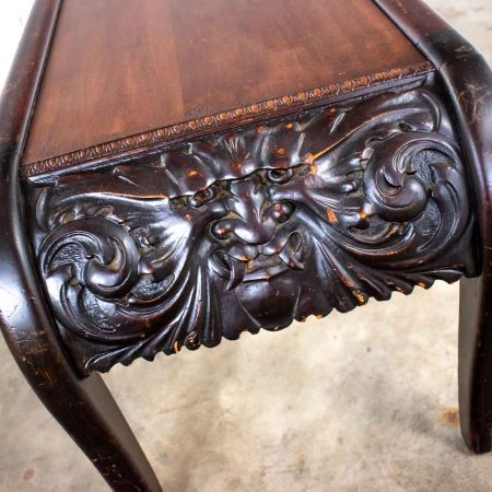 Antique Victorian Bench or Table North Wind Style Hand Carved Mythical Face