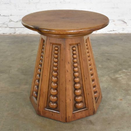 Art Deco Art Nouveau Arts and Craft Conical Side Table Round Top Octagon Base Carved Orbs