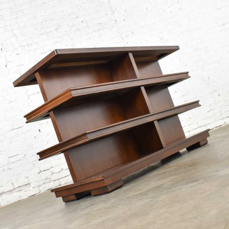 Dual Sided Low Bookcase Console Table 3 Shelves & Inlaid Top Attr Theodore Alexander