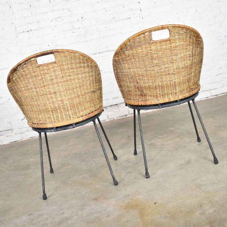 Mid Century Modern Iron & Wicker Pair of Neva-Rust Chairs by Maurizio Tempestini for Salterini