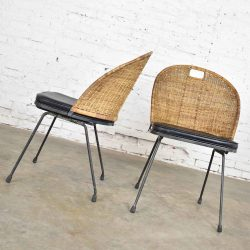 Mid Century Modern Iron & Wicker Pair of Neva-Rust Chairs by Maurizio Tempestini for Salterini