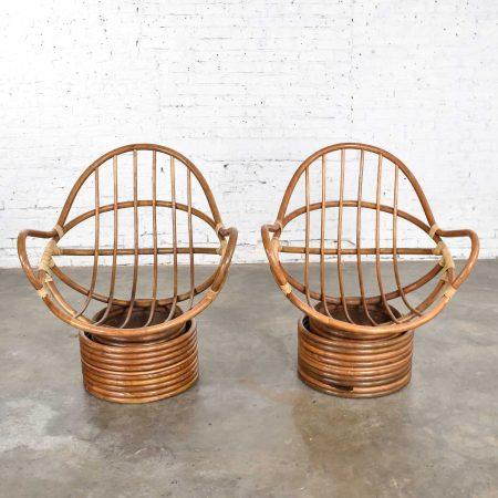 Pair of Vintage Modern Rattan Swivel Mamasan Bucket Lounge Chairs 1970