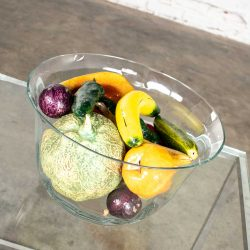 Vintage Glass Bowl of Papier Mâché Fruit & Vegetables Plus Ceramic Cantaloupe Centerpiece