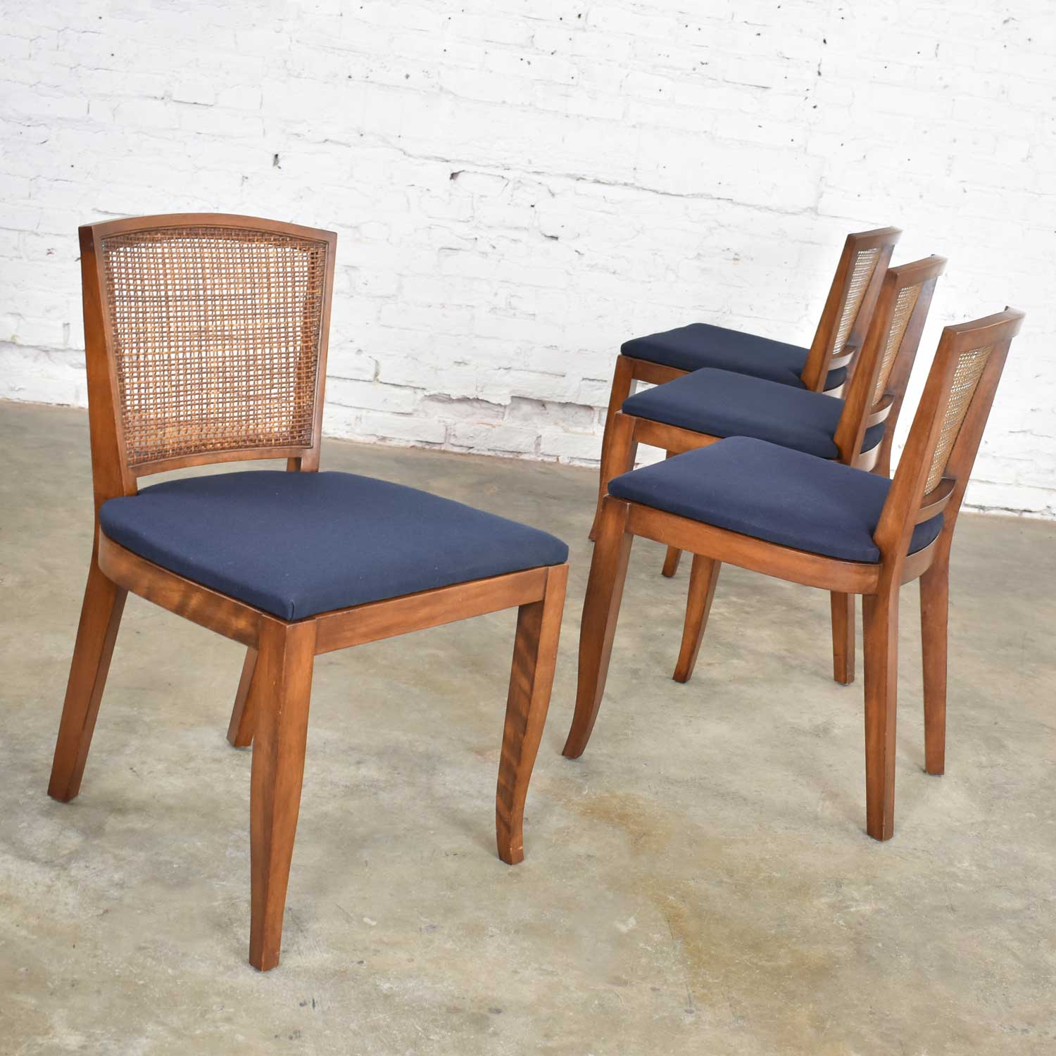 Vintage Mid Century Modern Set Of 4 Cane Back Dining Chairs Newly Upholstered Seats Warehouse 414