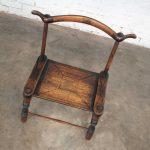African Vintage Hand Carved Baule Tribal Low Chair Yoke Back