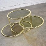 Modern Round Brass & Smoke Glass End Table or Coffee Table w/Pivoting Tiers Style of DIA Furniture 1970