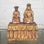 Antique Buddha Pair & Stand Hand Carved Wood & Hand Painted Red & Gilded