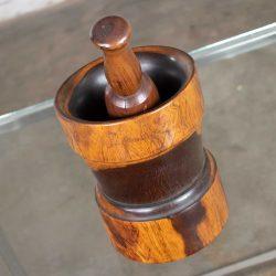 Vintage Mid-Century Modern Hand Turned Wood Mortar and Pestle 1950