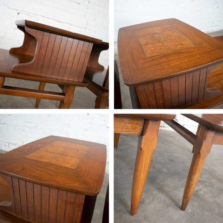 Mid Century Modern Pair Lane Step End Tables with Inlaid Walnut Burl Style #1927