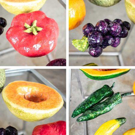 Vintage Glass Bowl of Papier Mâché Fruit & Vegetables Plus Ceramic Cantaloupe Centerpiece