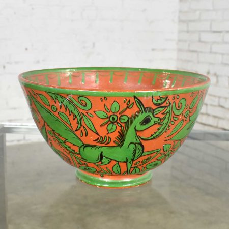 Tlaquepaque Mexican Pottery Bowl Large Fantasia Stylized Deer Green on Terracotta Mid-20th Century