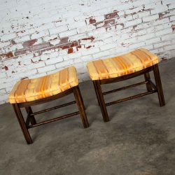 Chinese Chippendale Pair Foot Stools in Orange & Yellow Stripe Upholstery by Burlington House Furniture