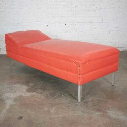 Mid Century Modern Chaise or Day Bed in Coral Vinyl Faux Leather with Aluminum Legs