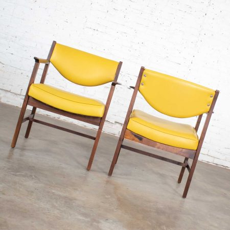 Pair Armchairs Mid Century Modern Gold Faux Leather & Walnut by Madison Furniture Ind.Pair Armchairs Mid Century Modern Gold Faux Leather & Walnut by Madison Furniture Ind.