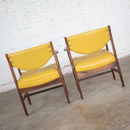 Pair Armchairs Mid Century Modern Gold Faux Leather & Walnut by Madison Furniture Ind.