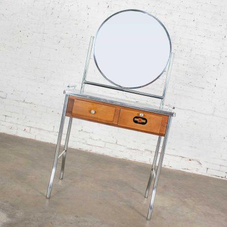 Art Deco Streamline Modern Machine Age Chrome Maple & Black Make Up Beauty Barber Vanity with Mirror