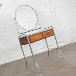 Art Deco Streamline Modern Machine Age Chrome Maple & Black Make Up Beauty Barber Vanity with Mirror