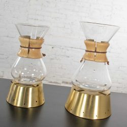 2 Mid Century Modern Chemex Pour Over Coffeemakers by Peter Schlumbohm & Vintage Brass Warmers