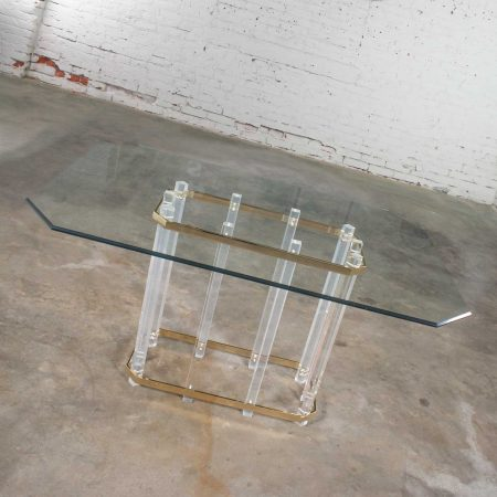 Hollywood Regency Glass, Brass, & Lucite Dining Table in the style of Charles Hollis Jones
