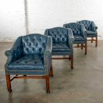 Blue Vinyl Faux Leather Chinese Chippendale Tub Style Rolling Game Chairs Set of Four