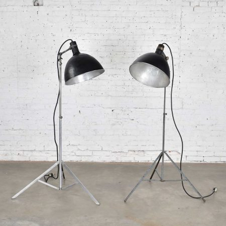 Two Vintage Industrial Pair of Photographers Floor Lights Tripod Base Aluminum and Steel