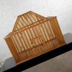 Vintage Mid Century Modern Large Pine Wood Birdcage