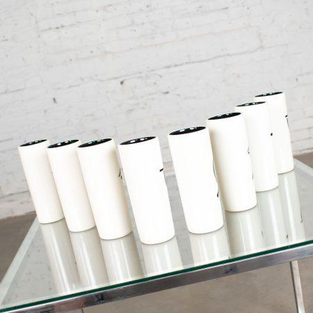 8 Vintage Mid-Century Modern Ceramic Tumblers White & Black with Asian Symbols