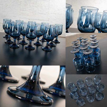 Vintage 58 Piece Set of Libbey Bolero Blue 1970 Glassware or Barware Tumblers Juice Goblets Wine Coupes