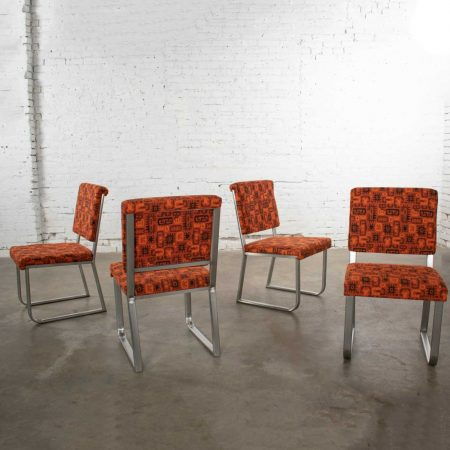 4 Streamline Modern Railroad Dining Car Chairs in Stainless Steel & Orange Abstract Upholstery