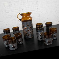 Imprisoned Mexican Glass Brutalist Modern Cocktail Set Amber & Blackened Metal by Filipe Derflingher