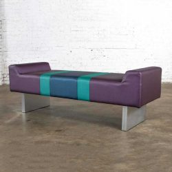 Postmodern Bench Purple Vinyl & Brushed Aluminum Bases After the Memphis Group