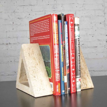 Modern Travertine Delta Shape Bookends Attributed to Fratelli Mannelli for Raymor