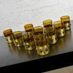 Imprisoned Mexican Glass Brutalist Modern Tumblers in Brown & Brass by Filipe Derflingher Set 10