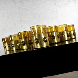 Imprisoned Mexican Glass Brutalist Modern Tumblers in Brown & Brass by Filipe Derflingher Set 10