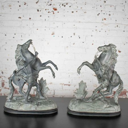 Antique Pair Detailed Spelter Marly Rearing Horse & Groom Sculptures after Guillaume Coustou