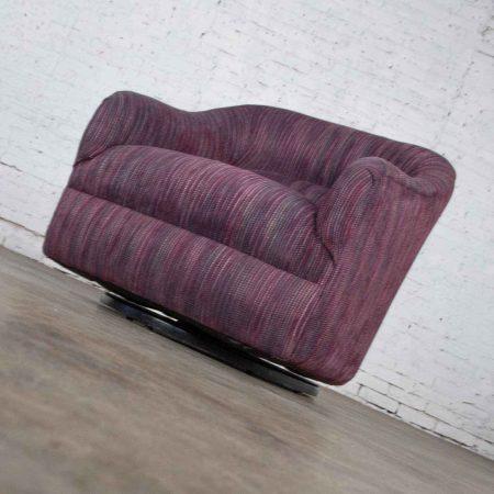Vintage Modern Tub Shaped Swivel Rocking Chair in Eggplant Purple Upholstery
