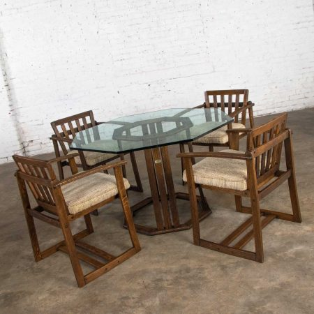 Vintage StavOak Dining Game Table & 4 Chairs from Jack Daniels' Barrel Staves by Jobie G. Redmond 1981