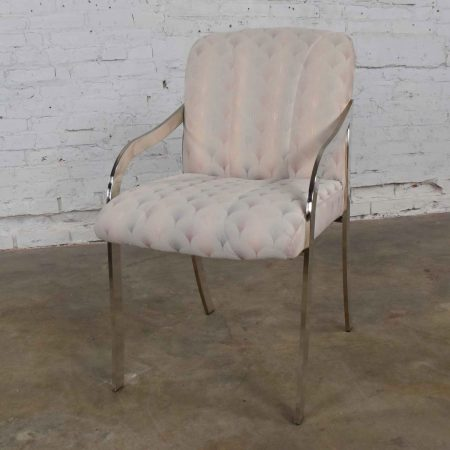 Vintage Art Deco Revival Chrome and Upholstered Accent Armchair 1970-1980
