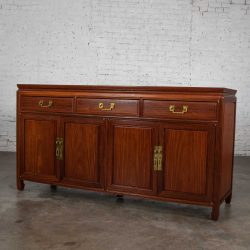 Vintage Solid Teak Chinoiserie Hollywood Regency Buffet Credenza in the Style of George Zee