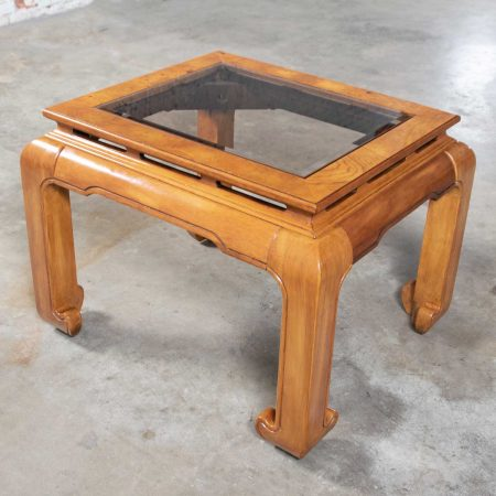 Chinoiserie Chow Leg Ming Style End Table Smoke Glass Top Insert Schnadig International Furniture