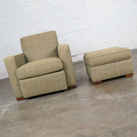 Vintage Art Deco Style Club Chair and Ottoman in Green Tweed by Hickory Chair