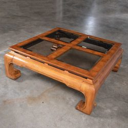 Chinoiserie Chow Leg Ming Style Large Square Coffee Table Attributed to Schnadig Intl. Furniture