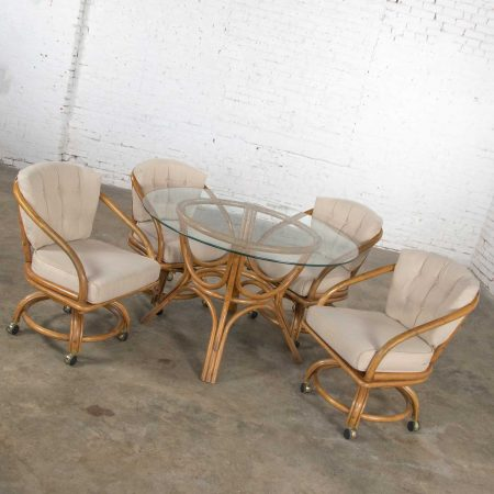 Vintage Rattan Game Table Set Round Glass Top Table & 4 Swivel Rolling Chairs 1970-1980