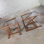 Vintage StavOak Pair End Side Tables from Jack Daniels' Barrel Staves by Jobie G. Redmond1981